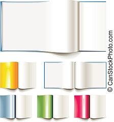 libros, folleto, conjunto, vector, blanco