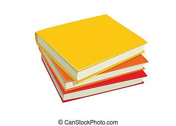 libros, ilustración, pila