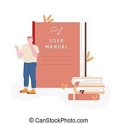 libros, información, beside., pensativo, pila, usuarios,...
