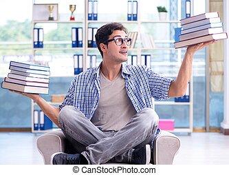 libros, lectura, preparando, exámenes, estudiante, biblioteca