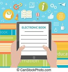 libros, libro, electrónico, pila, colorido