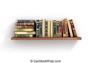 libros, madera, shelf., colorido