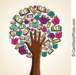 libros, mano, arte, árbol