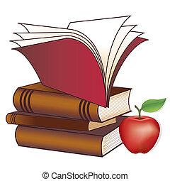 libros, manzana, profesor