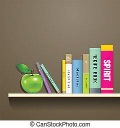 libros, manzana verde, fila