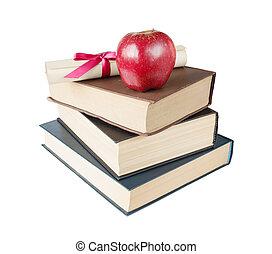 libros, manzana, y, rúbrica