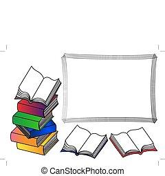 libros, marco, pila