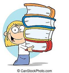 libros, niña, pila, proceso de llevar