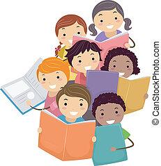 libros, niños, stickman, lectura, ilustración
