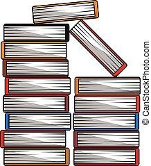 libros, pila, caricatura, ilustración