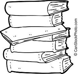 libros, pila, caricatura