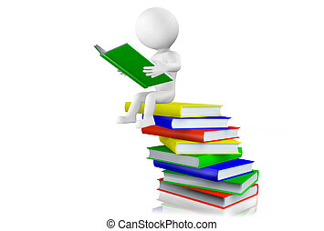 libros, pila, lectura, hombre, 3d