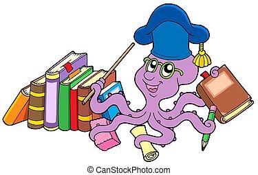 libros, pulpo, profesor