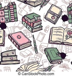 libros, seamless, patrón