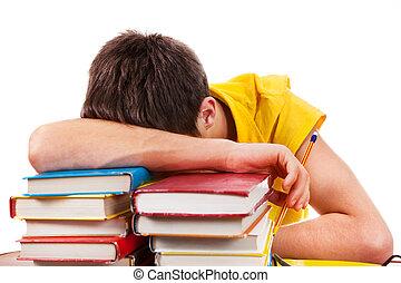 libros, sueño, estudiante