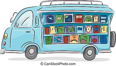 libros, unidad, biblioteca, móvil