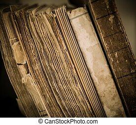 libros, vendimia, fila