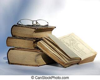 libros, viejo, anteojos