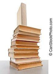 libros, viejo, montón