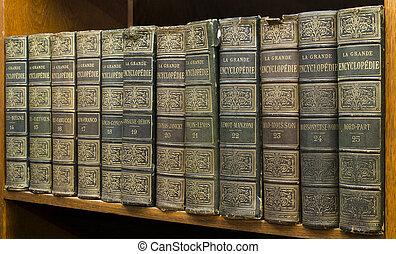 libros viejos, en, estante