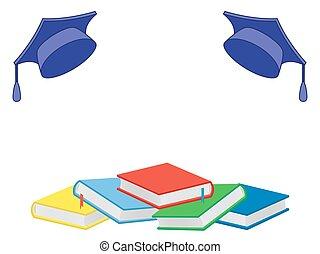 libros, y, mortero, tablas, en, el, fondo blanco