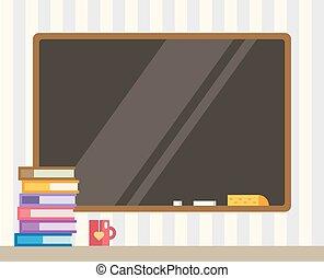 libros, y, negro, board., espalda, a, school., educación, objetos, universidad, colegio, símbolos, o, conocimiento, book., acción, diseñe elementos