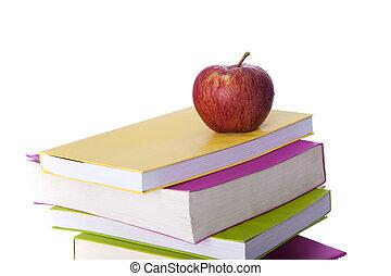 libros, y, un, fresco, manzana