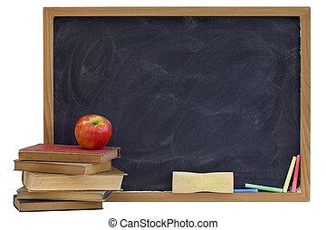 librosde texto, pizarra, viejo, manzana