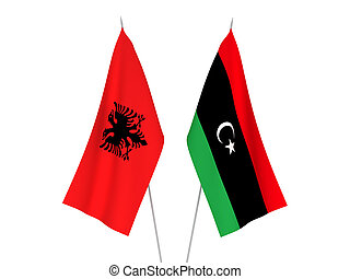 Libya and Albania flags - National fabric flags of Libya and...