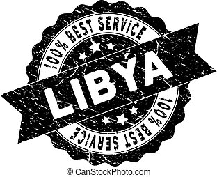 Libya Best Service Stamp with Grungy Style