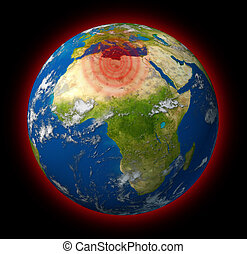 Libya conflict global hot spot represented by the planet...