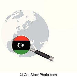 Libya flag in magnifying glass