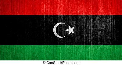 Libya Flag on wood background