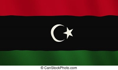 Libya flag waving animation. Full Screen. Symbol of the country.