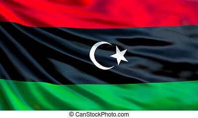 Libya flag. Waving flag of Libya 3d illustration