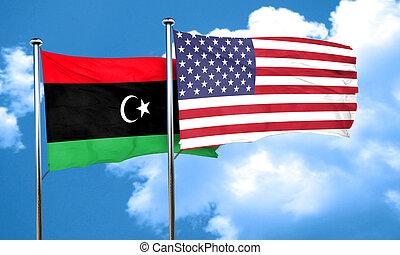 Libya flag with American flag, 3D rendering