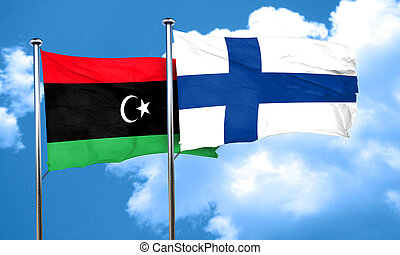 Libya flag with Finland flag, 3D rendering