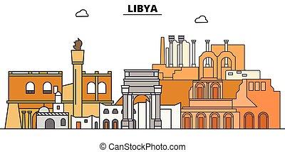 Libya flat travel skyline set. Libya black city vector illustration, symbol, travel sights, landmarks.