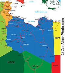 Libya map - Detailed vector map of Lybia with country ...