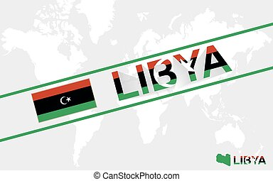 Libya map flag and text illustration