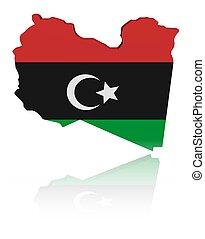 Libya map flag with reflection illustration