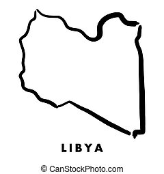 Libya simple map outline - smooth simplified country shape map vector.