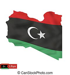 Libya map with waving flag of country.