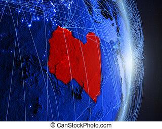Libya on blue blue digital Earth