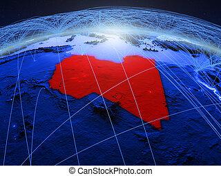 Libya on blue blue digital globe
