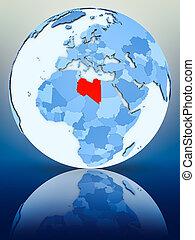 Libya on blue globe