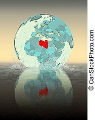 Libya on globe splashing in water