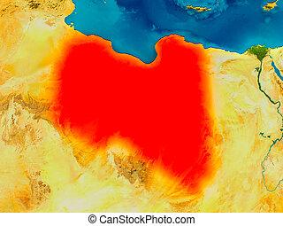 Libya on physical map
