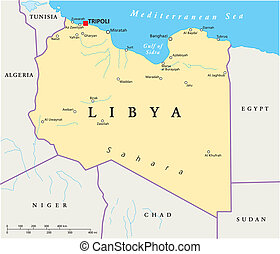 Political map of Libya with capital Tripoli, with national borders and most important cities. Illustration with English labeling and scaling.
