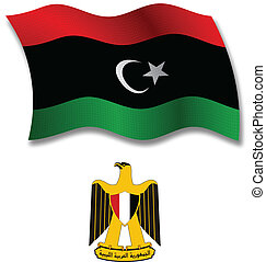 libya shadowed textured wavy flag and coat of arms against white background, vector art illustration, image contains transparency transparency